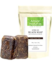 African Black Soap (0.7lb / 300g - 2 bars x 150 grams)-by Amson Naturals - Natural Pure Authentic Traditionally Handmade in Africa (Ghana) - for Body Face Hair.