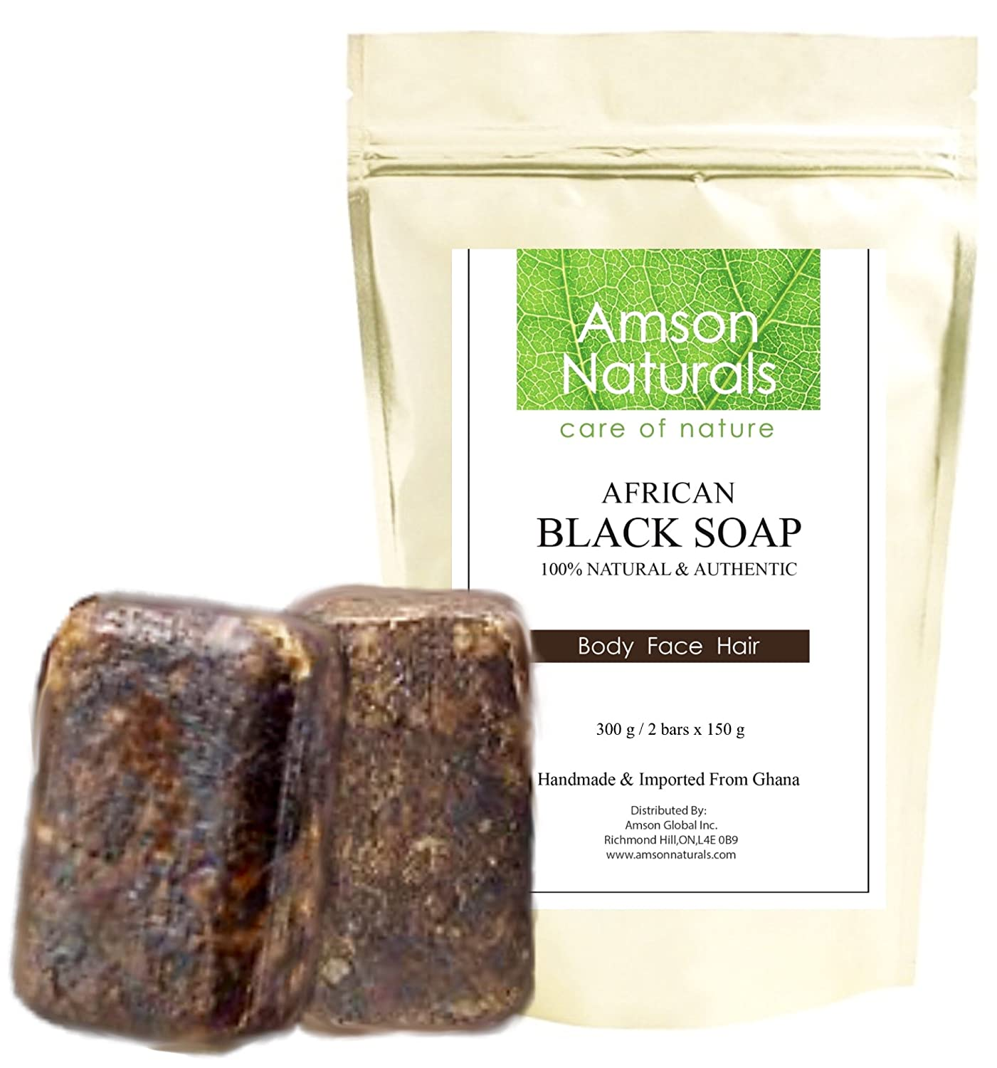 AFRICAN BLACK SOAP (0.7lb / 300g - 2 bars x 150 grams)-by Amson Naturals -100% Natural Pure Authentic Traditionally Handmade in Africa (Ghana) - for Body Face Hair.