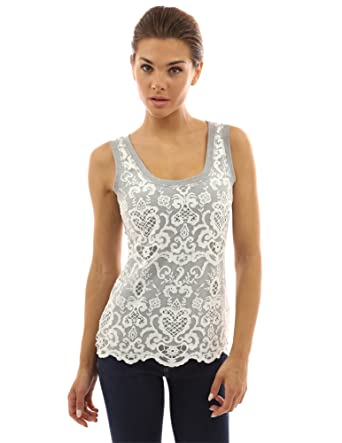 5aeb36cc4 PattyBoutik Women's Crochet Lace Overlay Tank Top at Amazon Women's ...