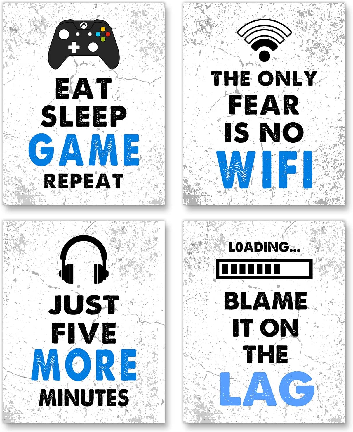 """Video Game Decor Set of 4 (8""""X10""""), Game Themed Art Print Room Wall Decoration Gift, gamer wall art,Gamer, Teen boy bedroom, game room, No Frames (white)"""