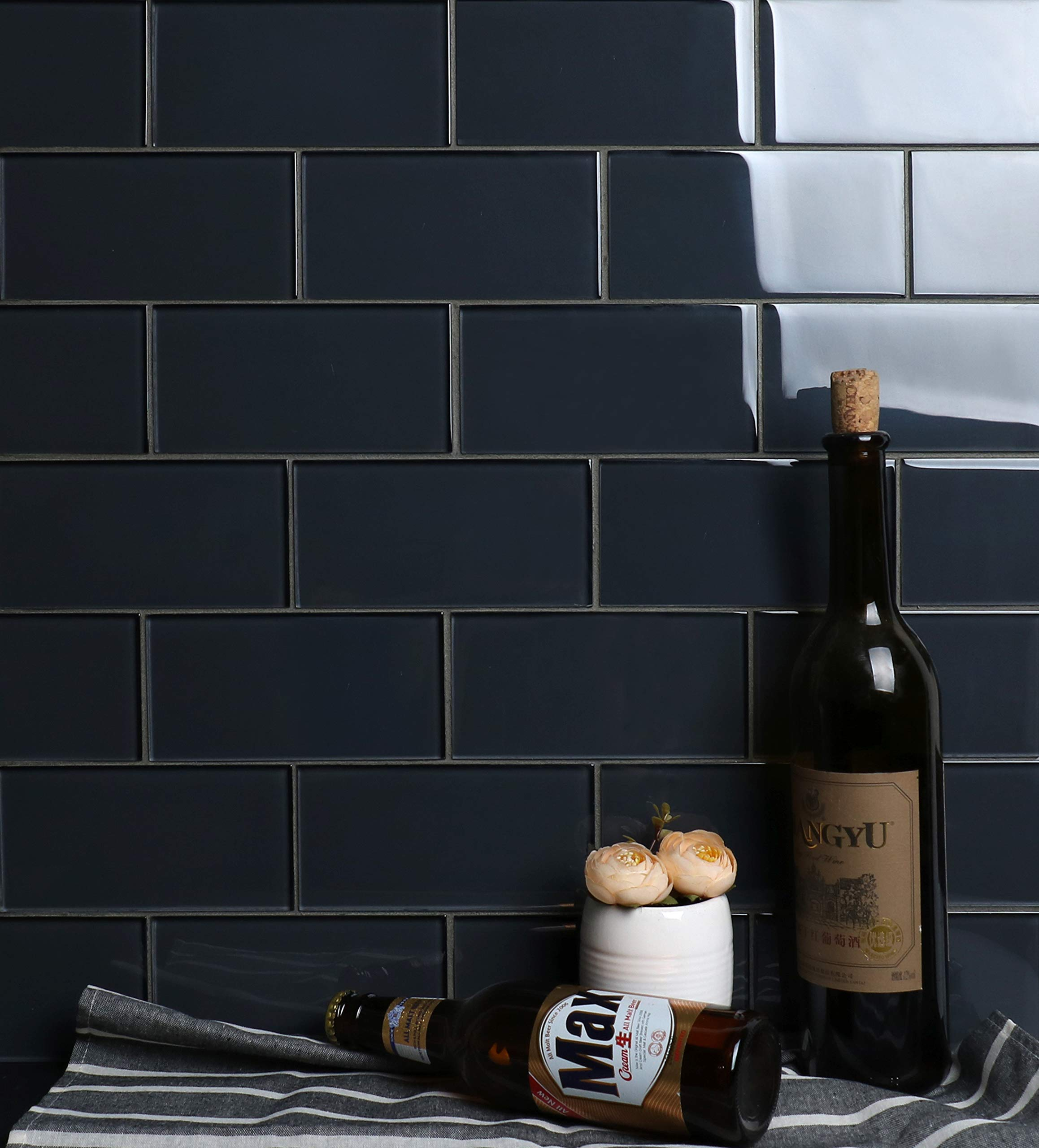 Glass Subway Backsplash Tile Kolors Series for Kitchen and Bathroom by WS Tiles - WST-19C (3'' x 6'' Mosaic 5 SqFt, Midnight Gray)