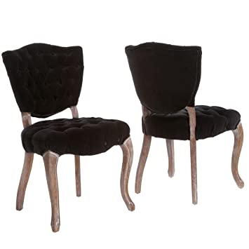 violetta tufted black fabric dining chairs set of 2