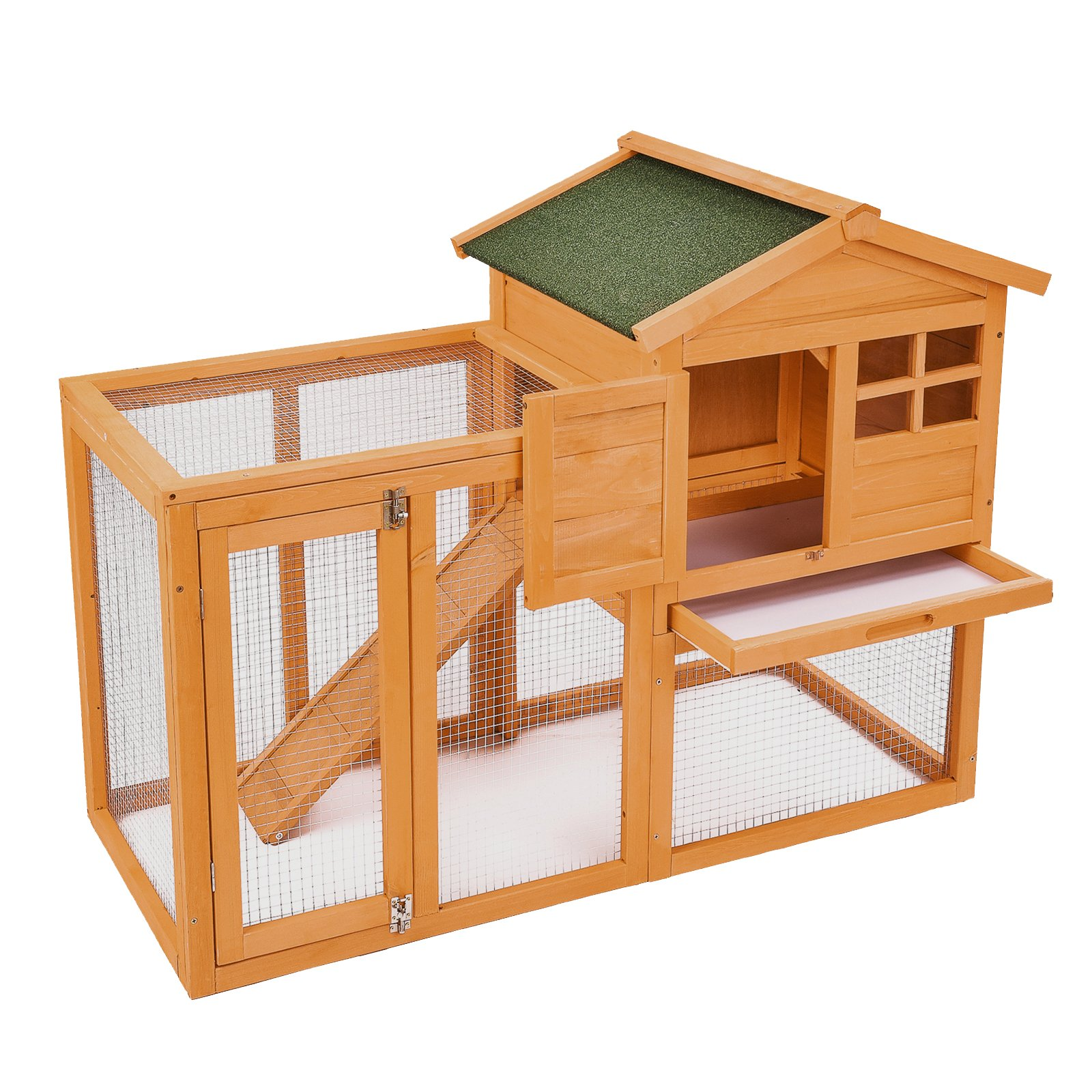 SUNCOO Wooden 2 Stairs Rabbit Hutch Chicken Coop Bunny Dog Animal Outdoor Cage with Water-resistant Roof