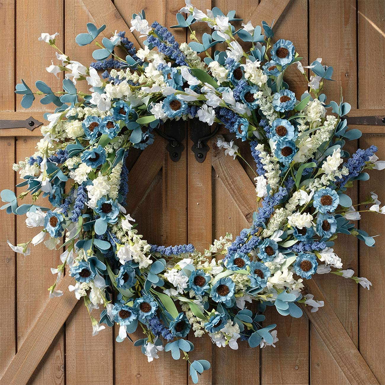 Bibelot 22 Inch Spring Wreath Blue with Green Leaves Wreath Blue Daisy Artificial Grains White Flower Wreath for Front Door Wreath,Farmhouse Decor Indoor&Outdoor Wedding Wall Home Decor