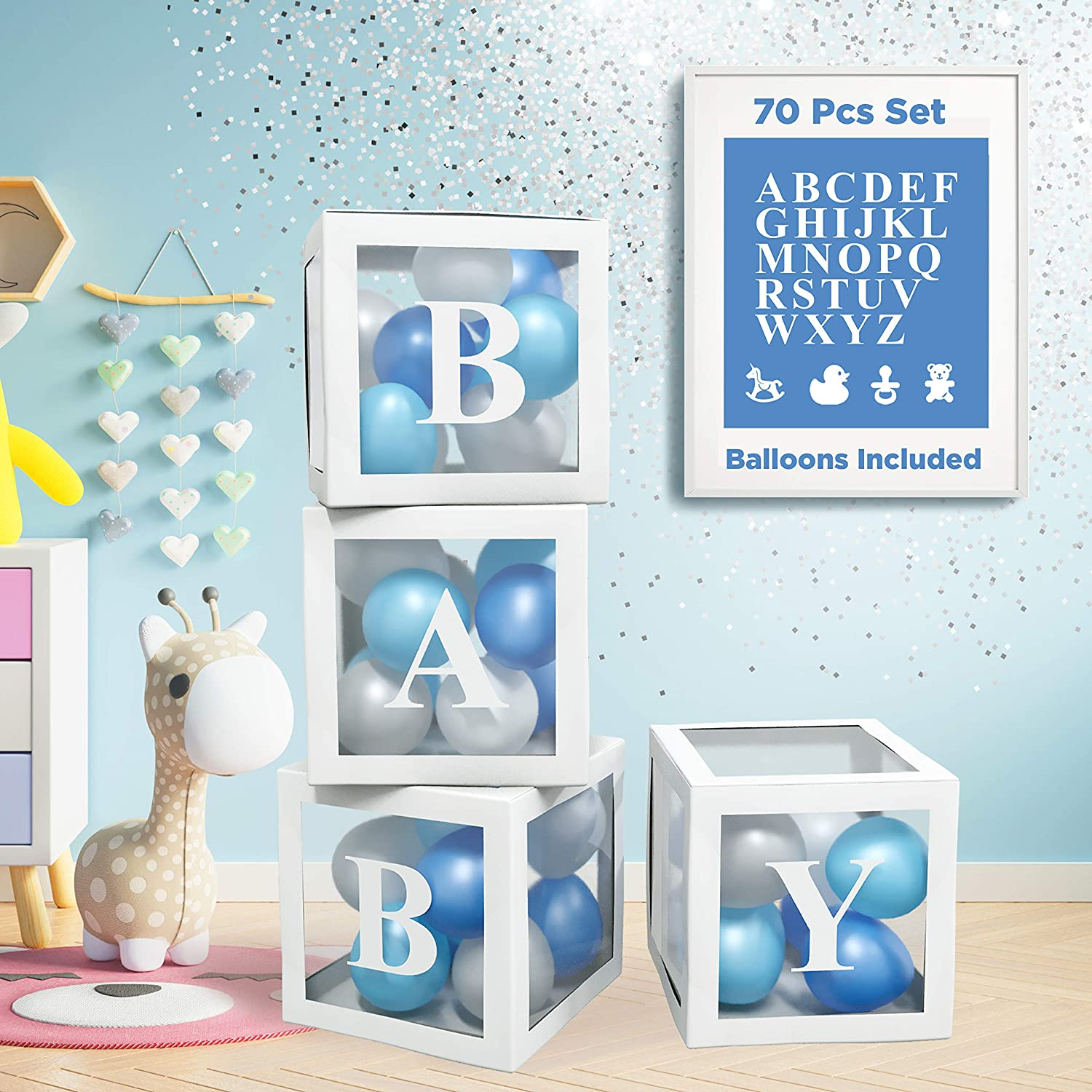 Baby Shower Decorations For Boy - 70 PCS KIT Baby Boxes With Letters For Baby Shower | 4 PCS ABC Baby Letter Blocks, 32 Balloons, 4 Gender Reveal Party Icons and 26 Alphabet Letters for Baby Boy Shower Decorations