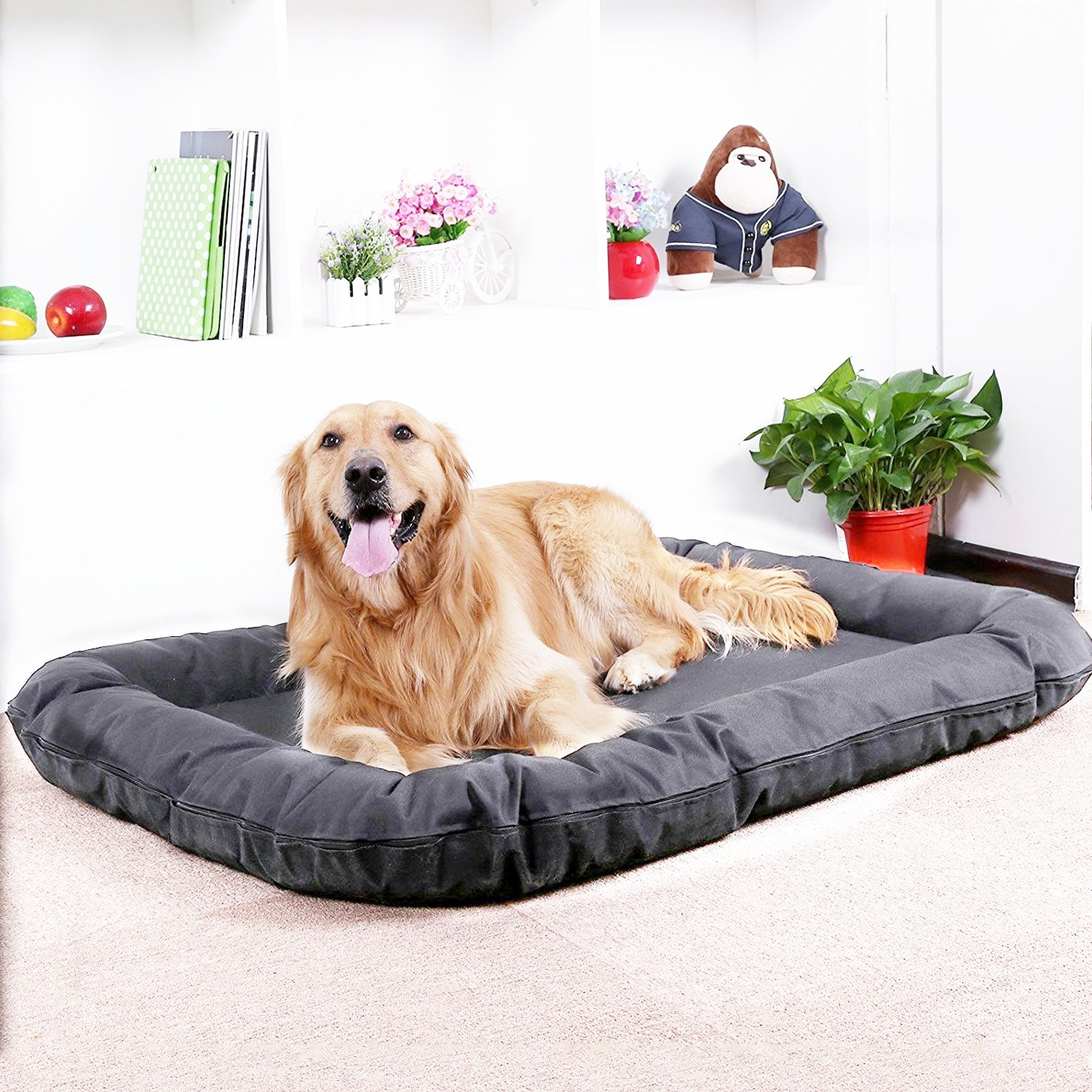 AikoPets Dog cushion Pet Bolster Bed Deluxe Orthopedic Chaise Couch for Cats and Dogs - Available in 2 sizes (XL:48'' x 34'' x 6'')