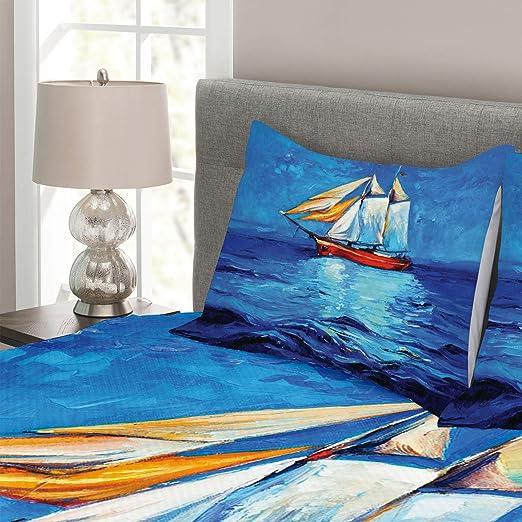Ambesonne Colcha de Barco, Estilo Pintura al óleo, Estilo Marinero Flotador en el mar, Arte Moderno impresionismo, Decorativo, Colcha Acolchada con Fundas ...