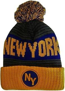 8b58a0f6a10 BVE Sports Novelties New York NY Patch Ribbed Cuff Knit Winter Hat Pom  Beanie