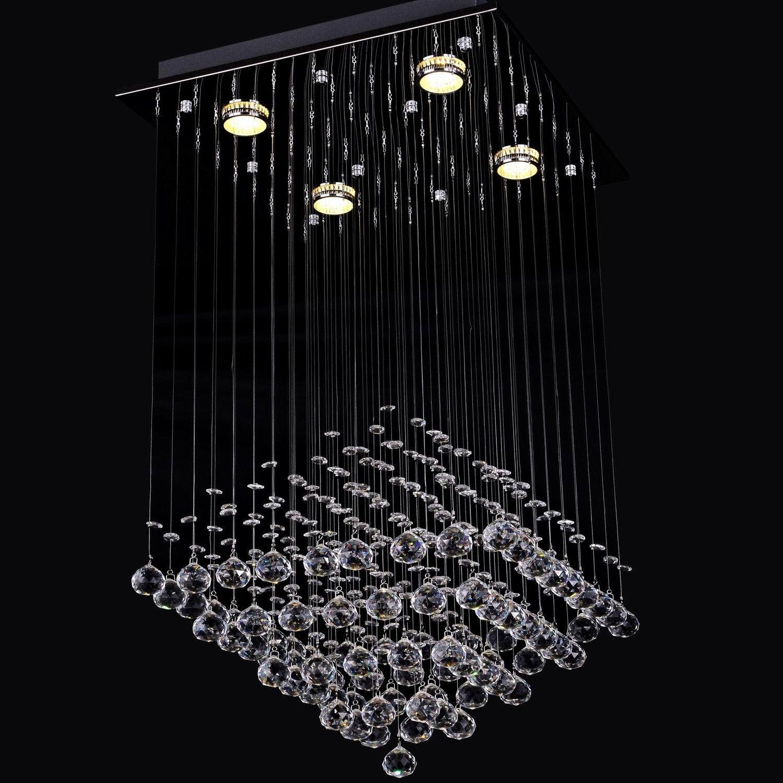 LightInTheBox Modern Rain Drop Clear Crystal 4 Lights Flush Mount Ceiling Light Fixture Chandeliers Lighting