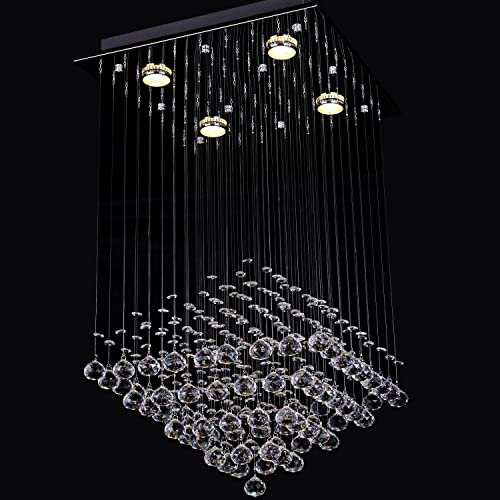LightInTheBox Modern Rain Drop Clear Crystal 4 Lights Flush Mount Ceiling Light Fixture Chandeliers Lighting
