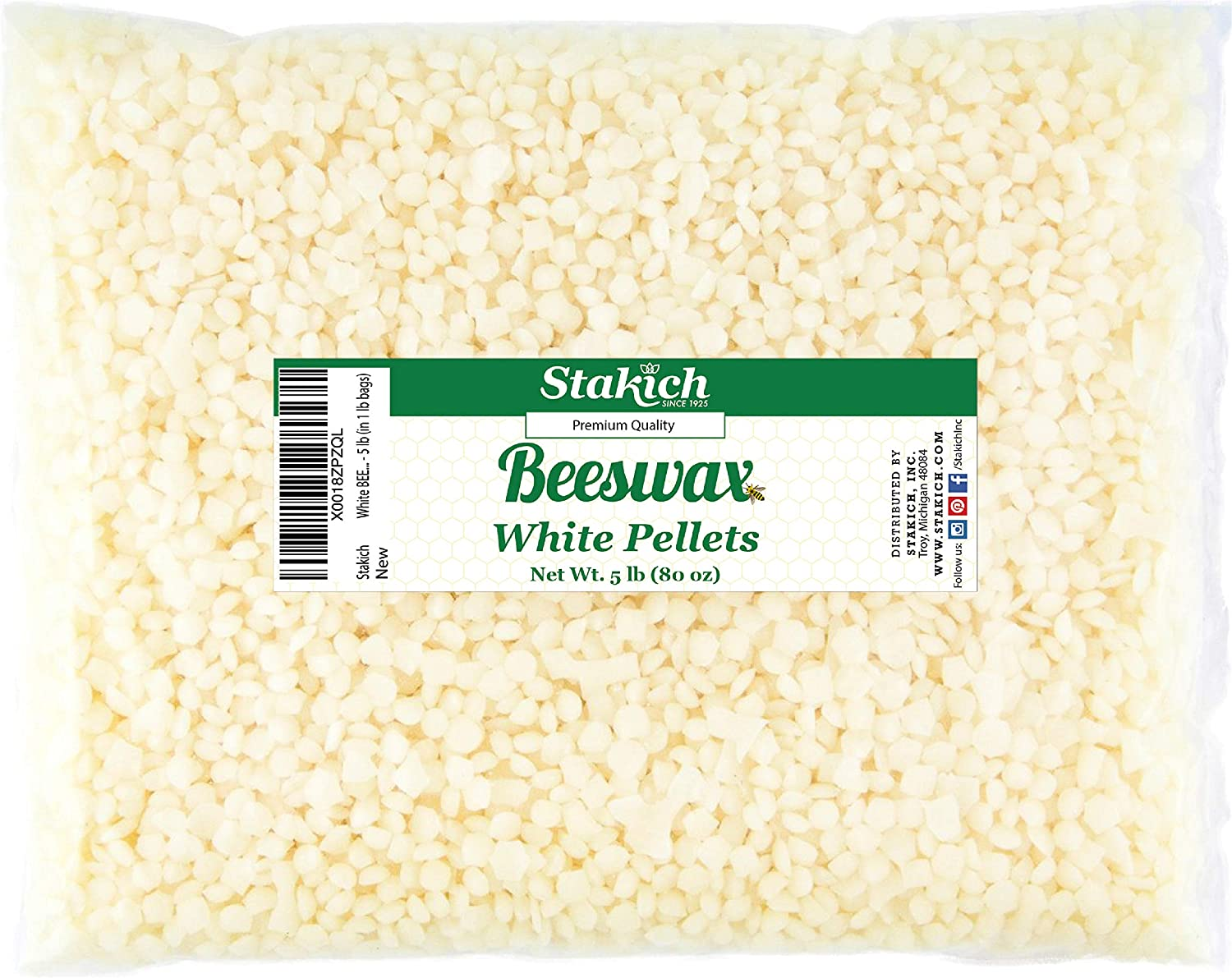 Stakich White Beeswax Pellets - Natural, Cosmetic Grade - 5 Pound (in 1 Pound Bags)