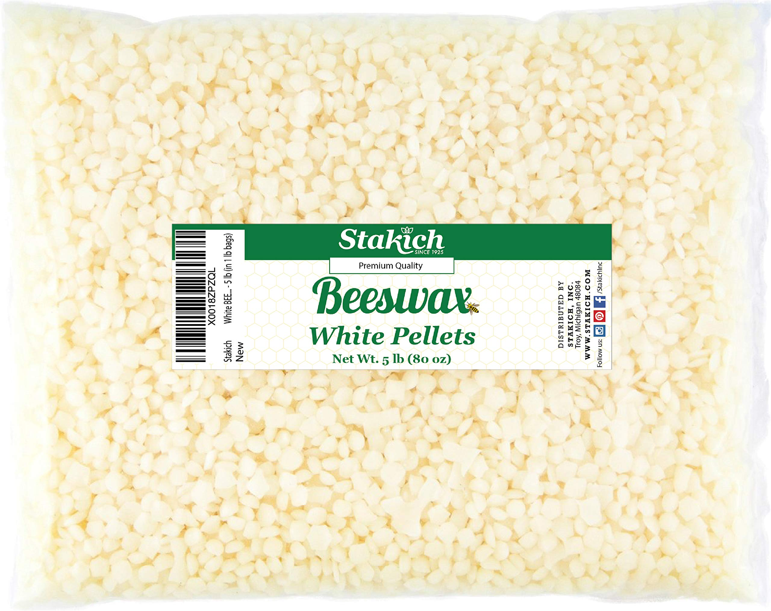 Stakich White Beeswax Pellets - Natural, Cosmetic Grade - 5 Pound (in 1 Pound Bags) by Stakich