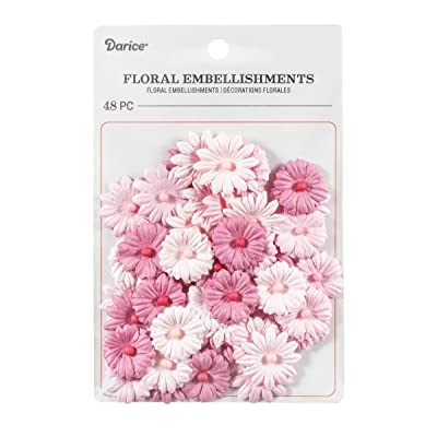 """Darice Button Daisy Floral Embellishment: Pink, 0.75"""", 48Piece: Toys & Games"""