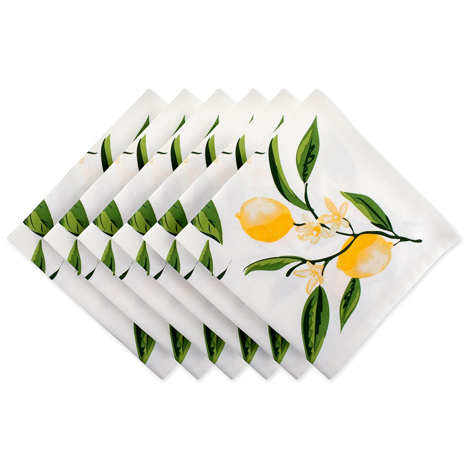 DII Oversized Cotton Napkin for Independence Day July 4th Party, Summer BBQ and Outdoor Picnic, Set, Lemon Bliss 6 Piece