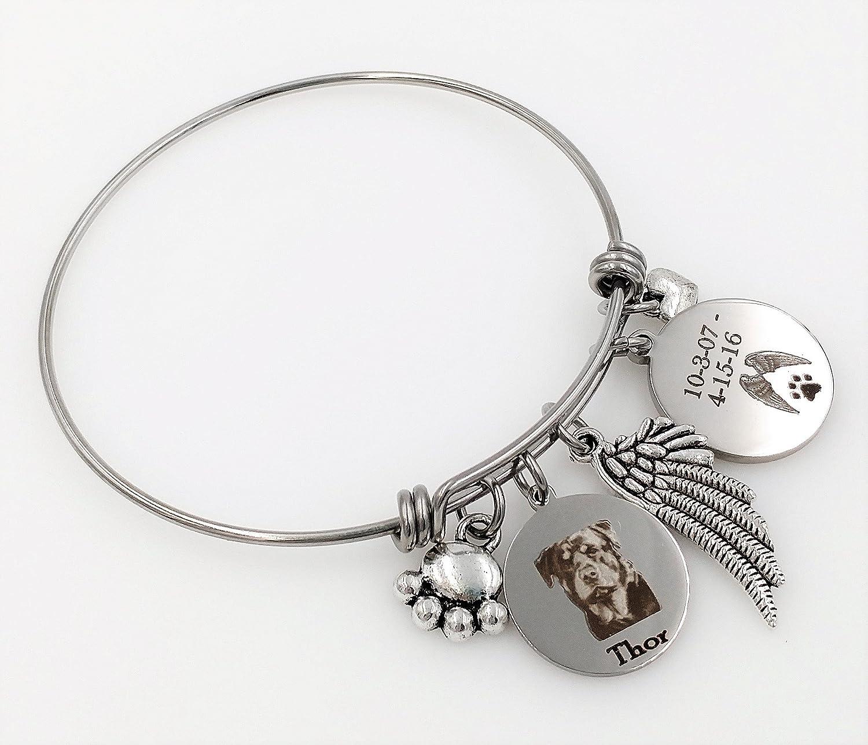 Rottie Personalized Memorial Remembrance Bangle Bracelet or Necklace Engraved Rottweiler Rainbow Bridge