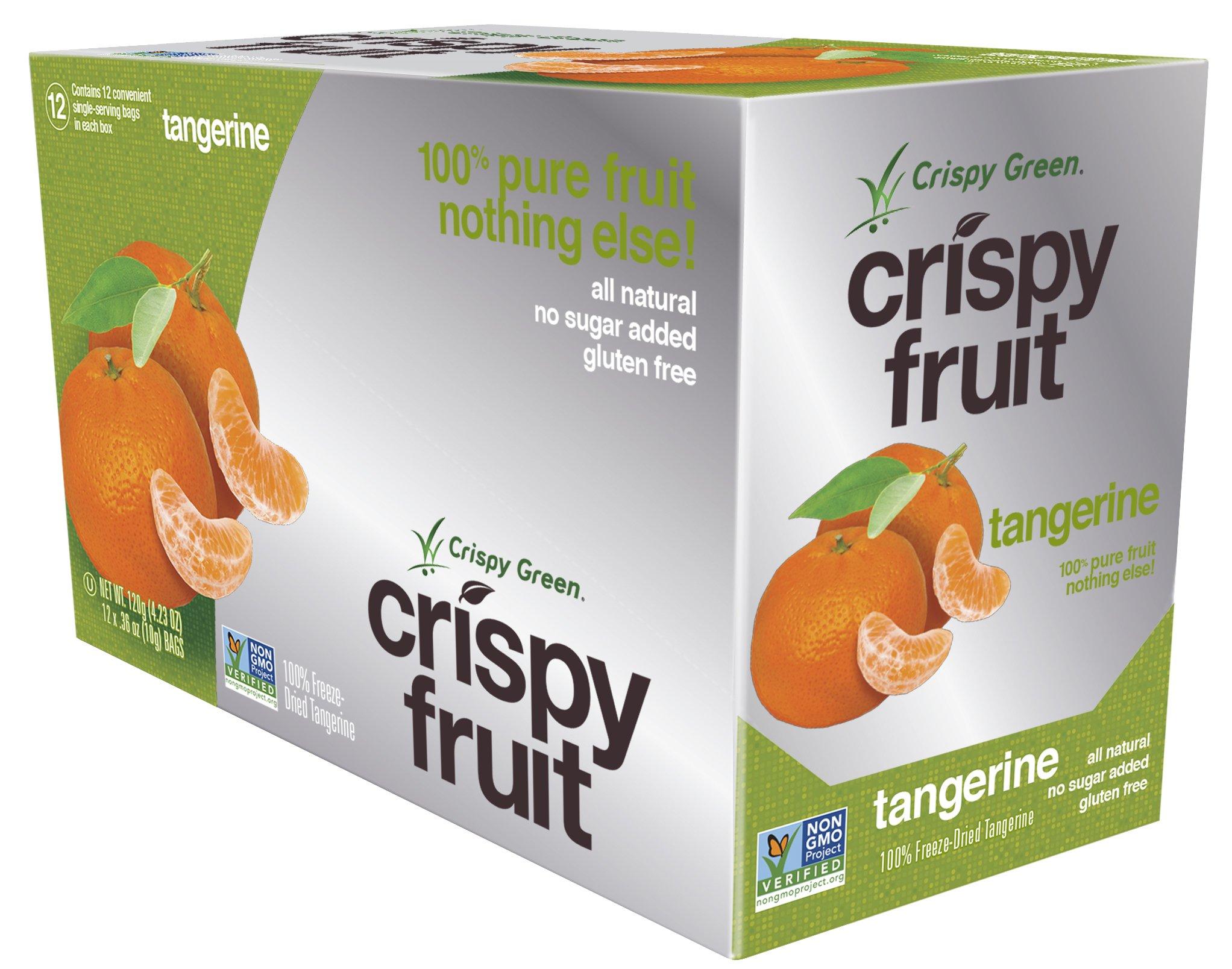 Crispy Green Freeze-Dried Fruits, Non-GMO, Gluten Free, No Sugar Added, Tangerine, 0.36 Ounce (12 Count)