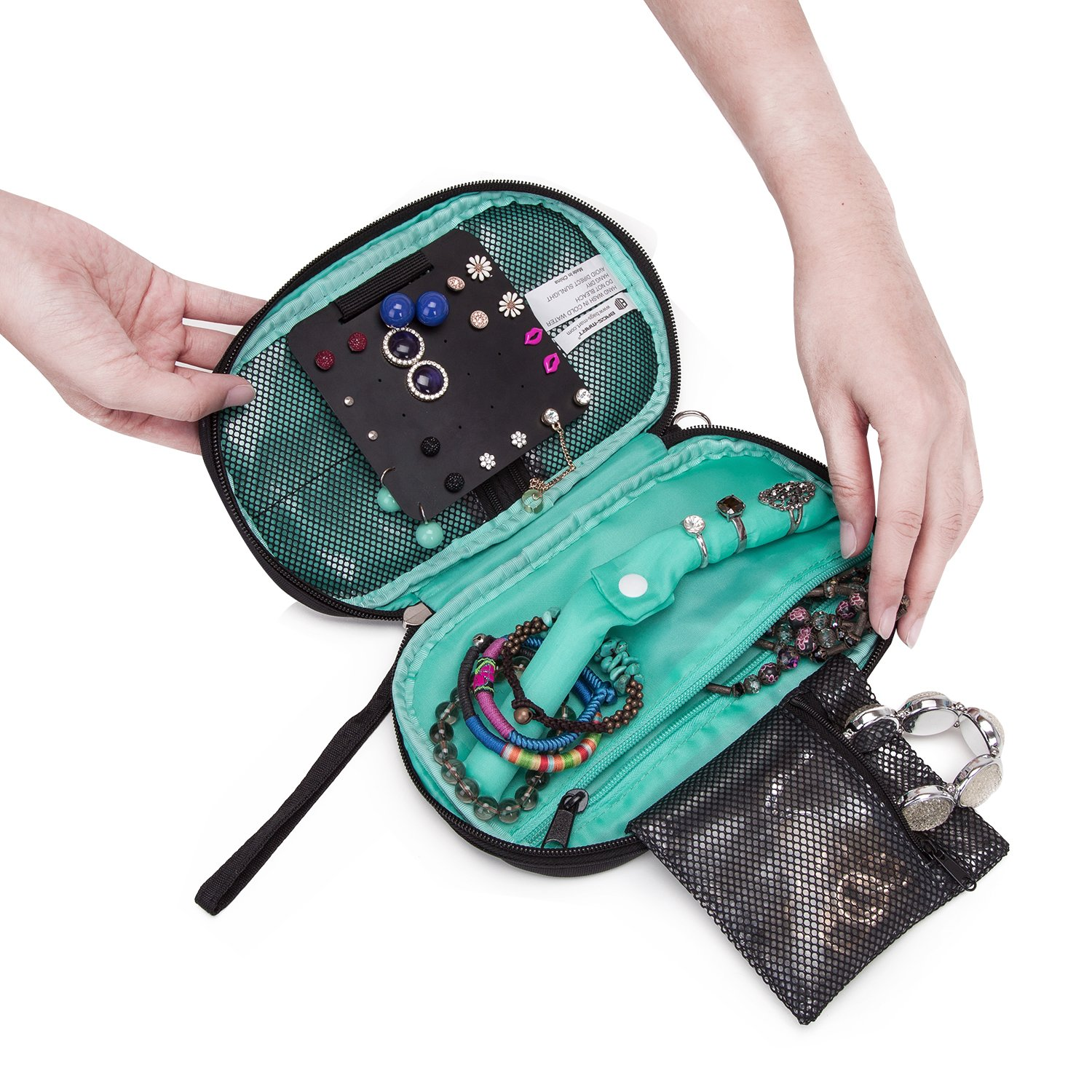 BAGSMART Travel Jewelry Organizer Storage Cases Jewelry Box for Earrings /& Necklaces /& Ring Blue