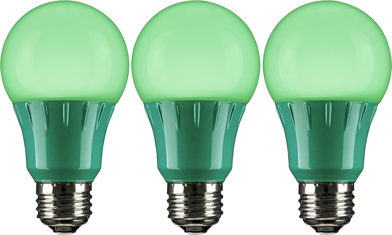 Sunlite A19/3W/G/LED/3PK LED Colored A19 3W Green Light Bulbs Medium (E26) Base (3 Pack)