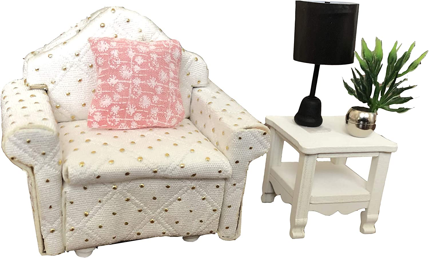 Inusitus DIY Dollhouse Kit | Sofa Chair Set | Miniature Furniture | Dolls House Kits | Requires Assembly | 1/18 Scale (Sofa-Chair-White)