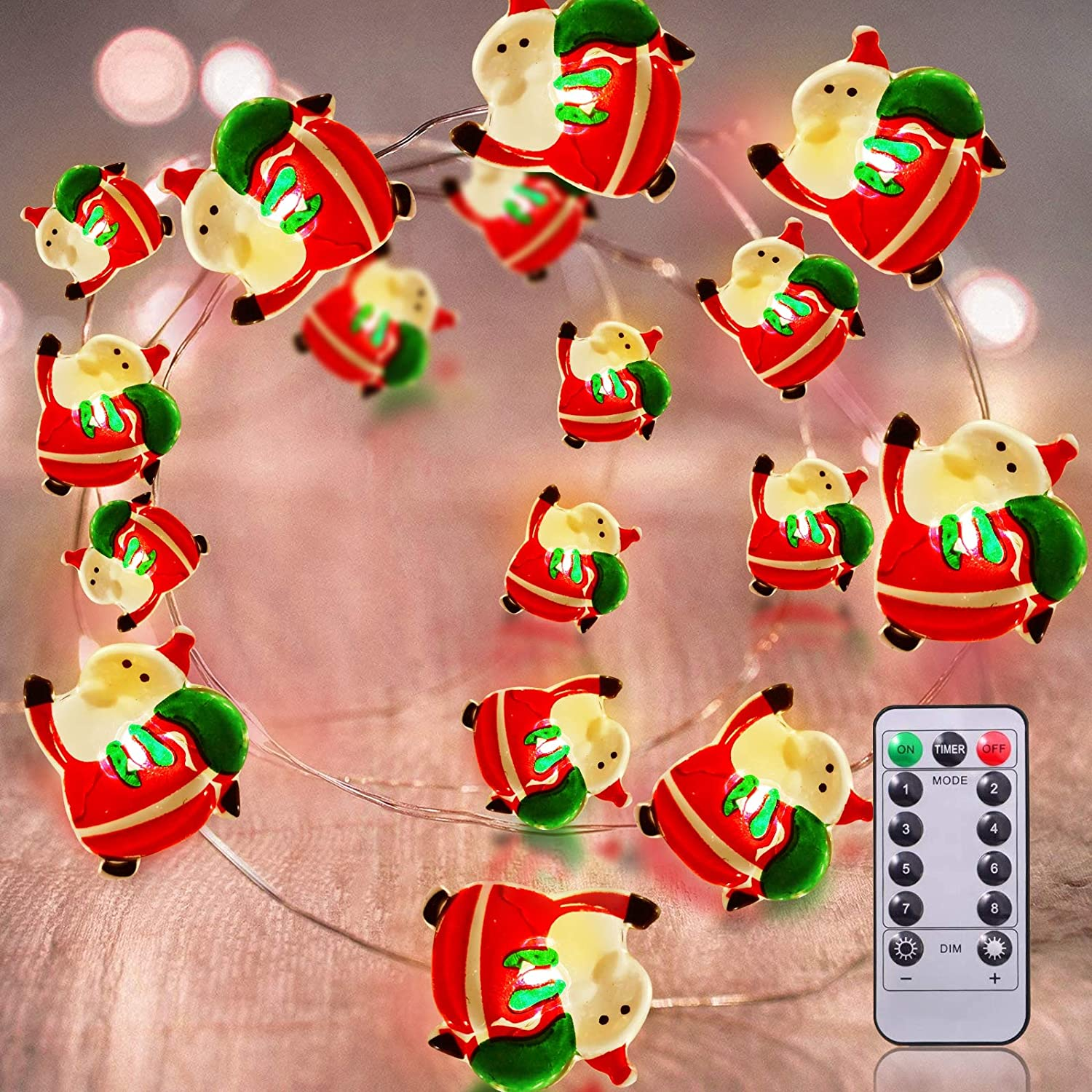 TURNMEON 26.2 Ft 80 Led Santa String Lights Christmas Decorations Battery Operated Fairy Lights with Remote 8 Modes Waterproof Holiday Xmas Decoration Indoor Outdoor Bedroom Home(Warm White)