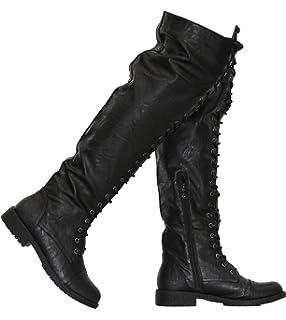 8eb2466dd29 Amazon.com: Herstyle Kristrrina Women Military Lace Up Thigh High ...