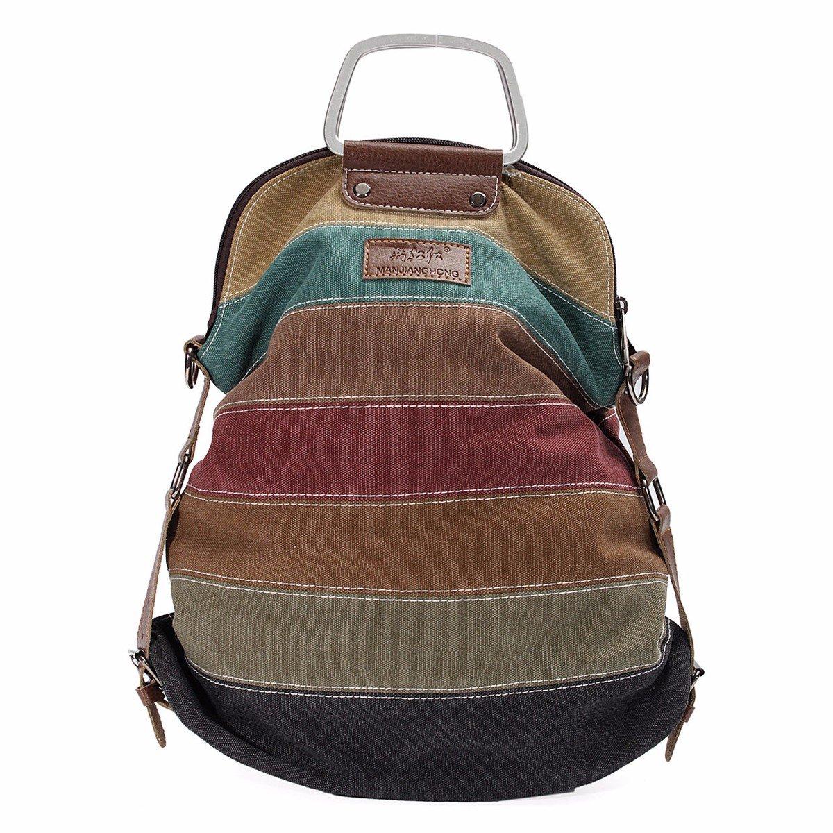 OURBAG Canvas Backpack Multi-function Shoulder Bag Handbag Striped Large Tote Bags Colorful