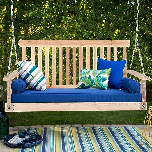 Balancín para jardín Patio de madera natural columpio en el porche para colgar asiento cadenas 4 ft: Amazon.es: Jardín