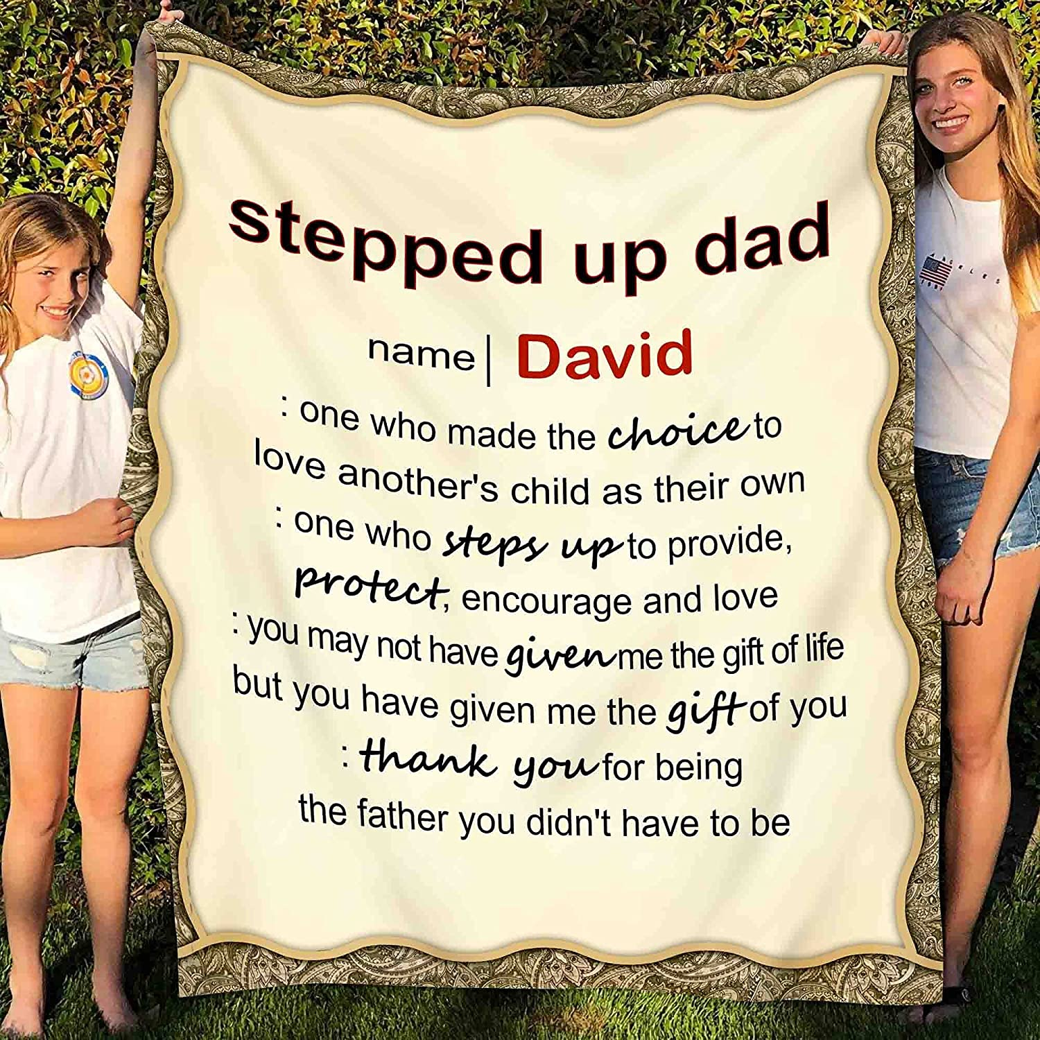Personalized Stepped Up Dad Blanket, Gift For Step Dad, Bonus Dad Blanket, Step Dad Blanket, Stepdad Father Gift, Bonus Dad Birthday Gift Custom Fleece Sherpa Blanket