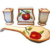 Tuscany Red Apple with Bamboo Trim Hand Painted, Stove Top Set of 4pcs, 84325/28 by ACK