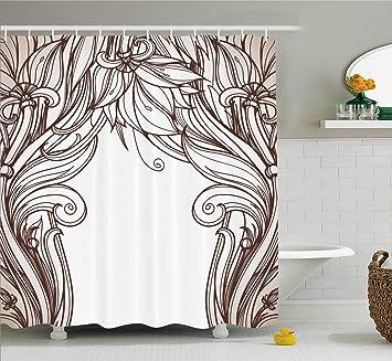 Ambesonne Art Nouveau Shower Curtain Vintage Victorian Renaissance Curving Branches In Earth Tones Classic