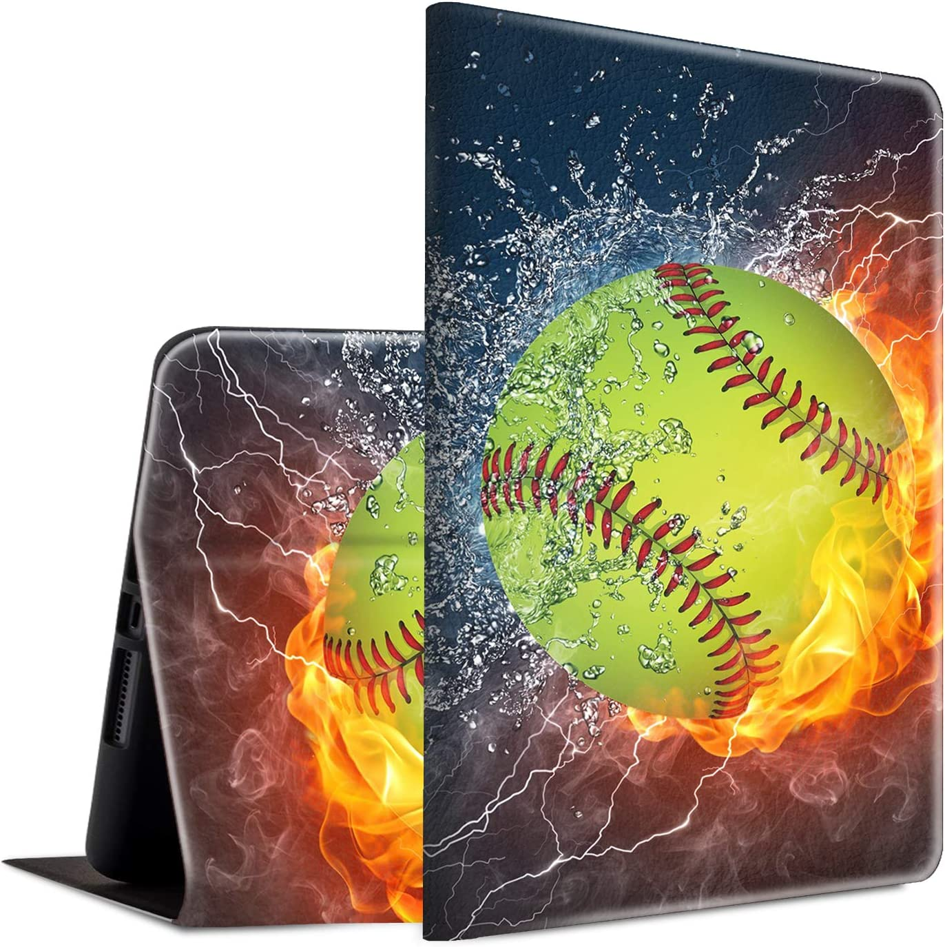 iPad 9.7 2018/2017 Case, iPad Air 2, iPad Air Case, Spsun Lightweight PU Leather Folio Adjustable Stand with Auto Wake/Sleep Smart Case for Apple ipad 6th/5th Gen - Fire and Water Softball