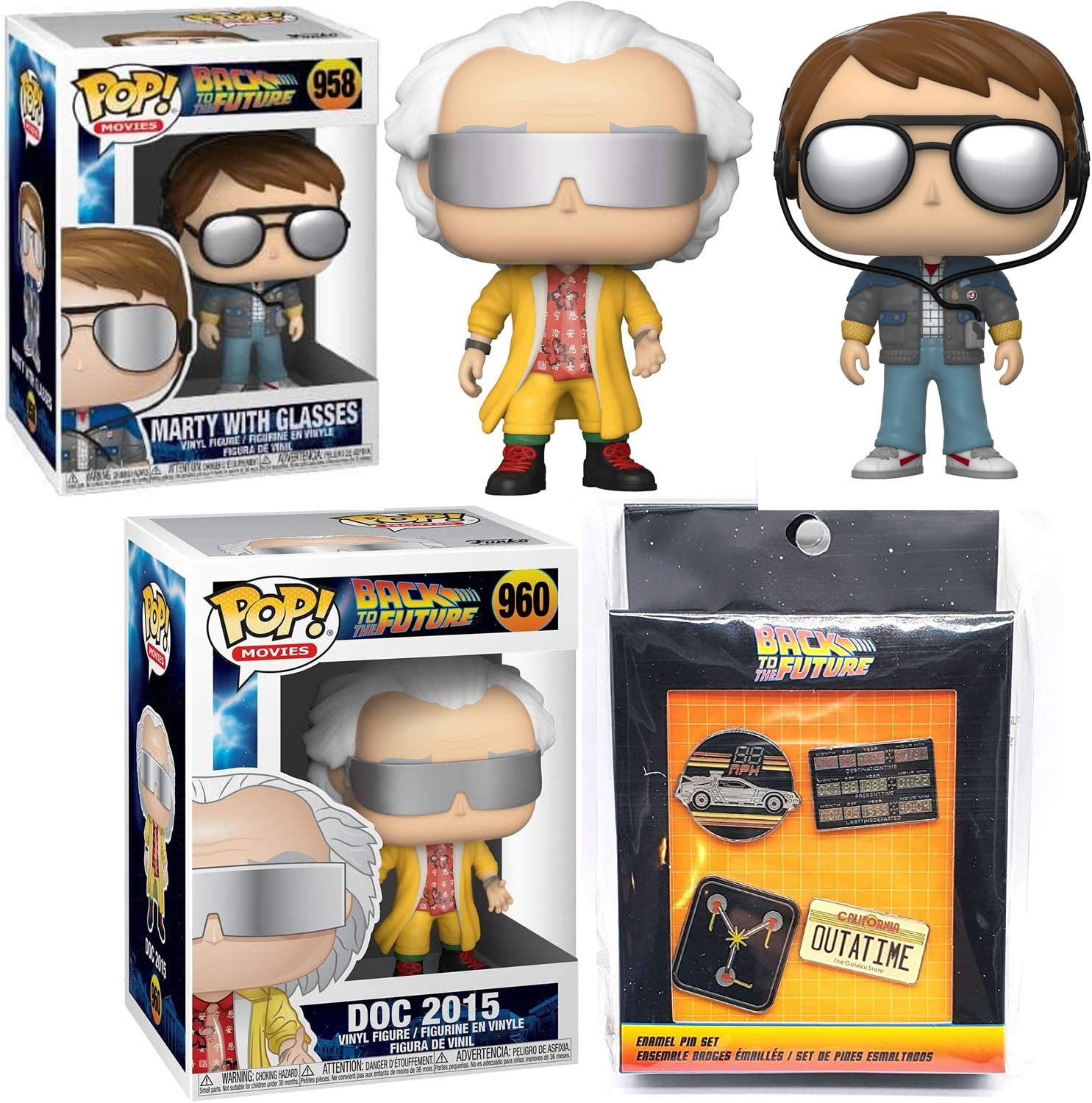 3 Items Outatime Back to Future Doc /& Marty McFly Pop Nano Future Figures Back to The Time Machine Bundled with Movie Pin 4 Pack Hollywood Exclusive