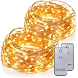 Kohree 2 Pack 120 LEDs Battery Operated String Light 20ft Copper Wire, Waterproof Design Decor Rope Lights for Festival, Wedding, Holiday and Party with Remote Control