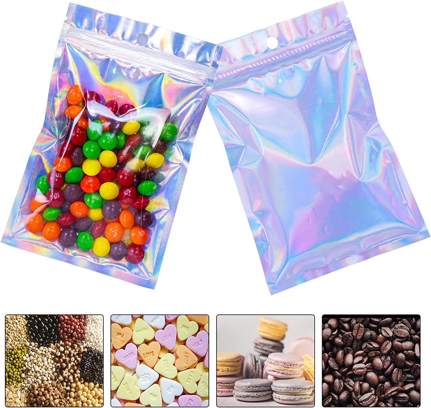 Mylar Bags for Food Storage, Resealable Mylar Bags with Ziplock 4 x 6 Inch 100 PCS Smell Proof Bags Holographic Packaging Bags Foil Pouch Bag Flat Reclosable Edible Packaging Party Favor Food Storage