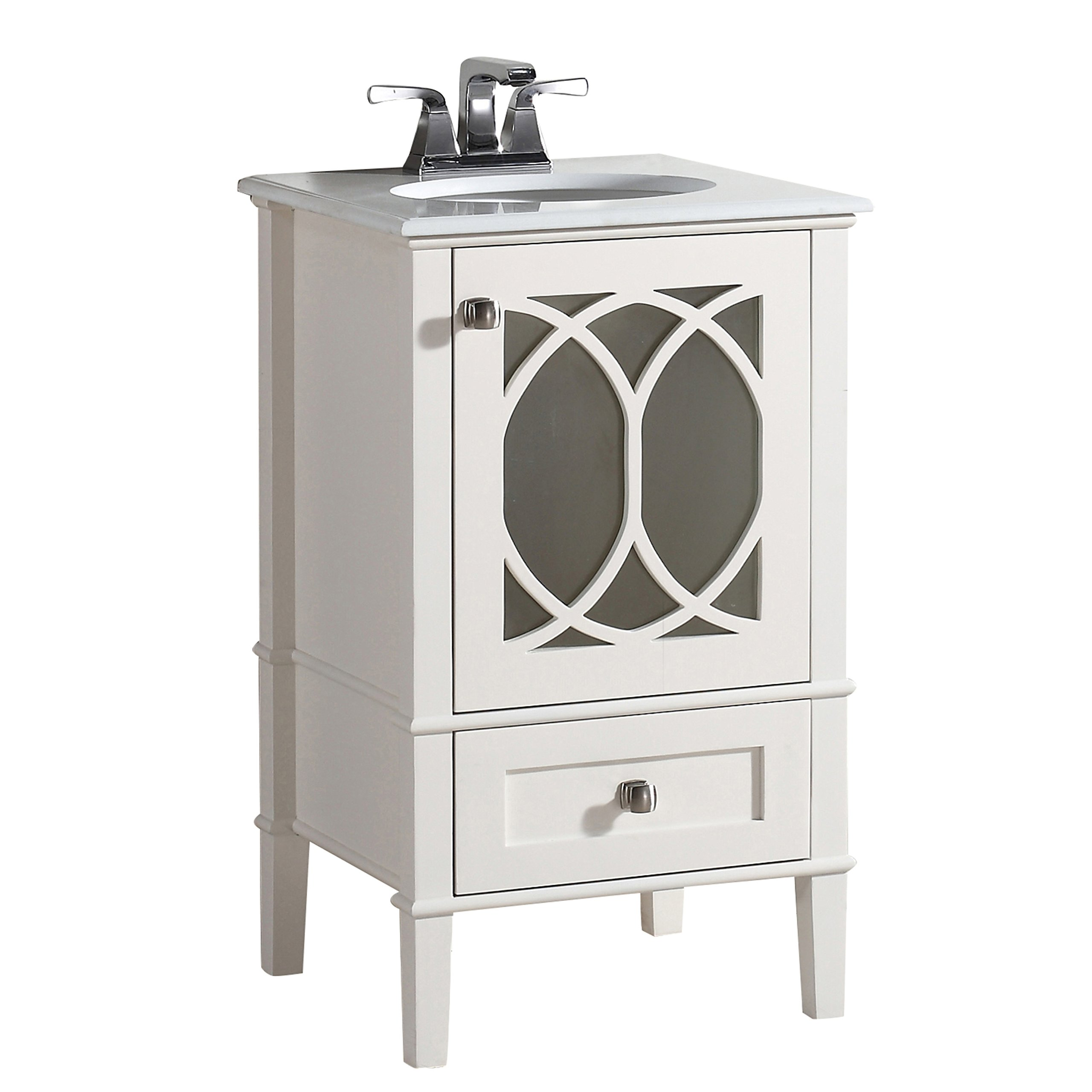 Simpli Home Paige 20'' Bath Vanity with Quartz Marble Top, Soft White by Simpli Home