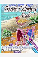 Beach Coloring Book- Large Print Summer Fun Mosaic Color By Numbers For Adults: Ocean Art For Stress Relief and Relaxation (Series: Fun Adult Color By Number Coloring) Paperback