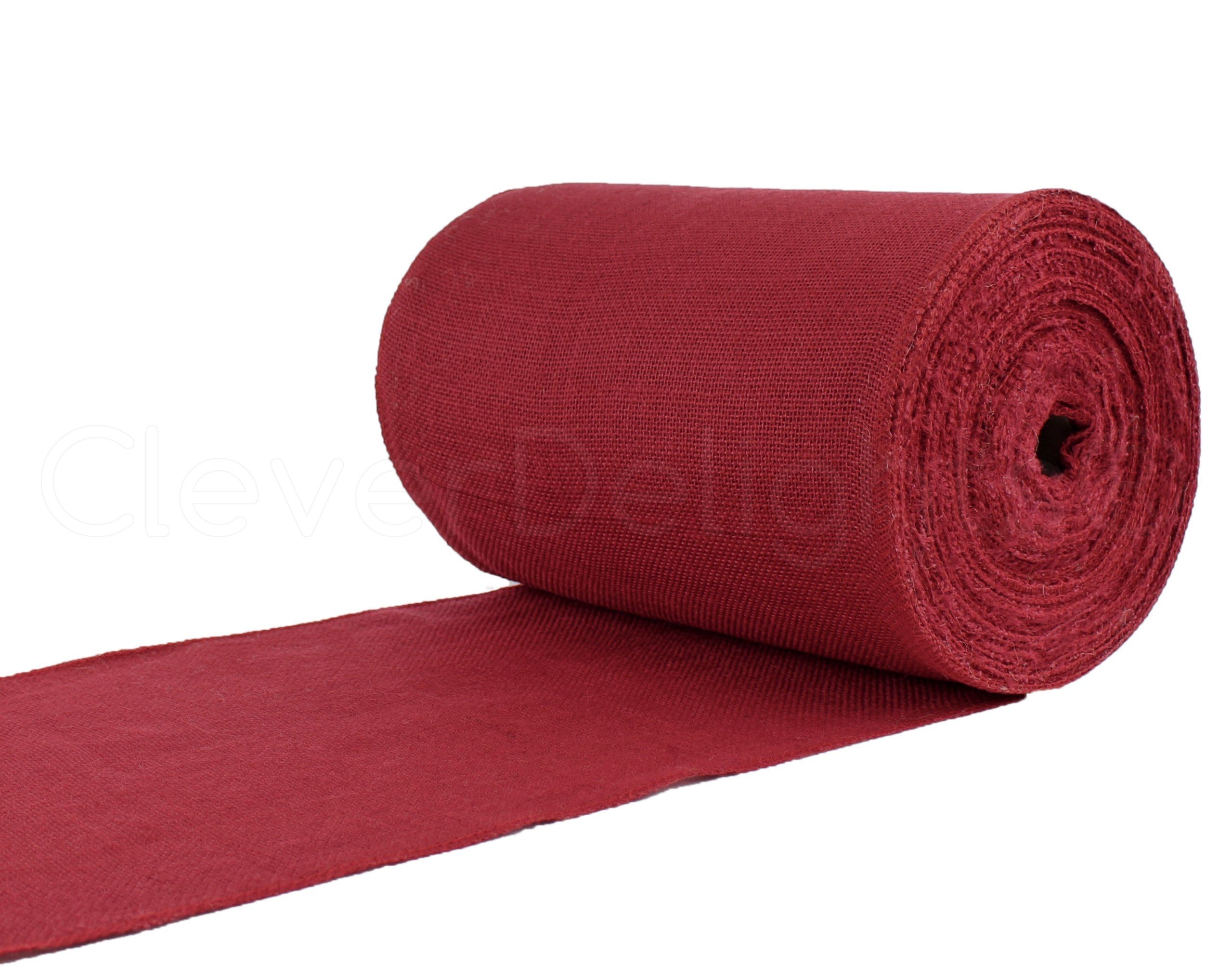 CleverDelights 12'' Premium Red Burlap Roll - 50 Yards - No-Fray Finished Edges - Natural Jute Burlap Fabric
