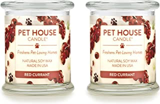 product image for One Fur All 100% Natural Soy Wax Candle, 20 Fragrances - Pet Odor Eliminator, Up to 60 Hours Burn Time, Non-Toxic, Reusable Glass Jar Scented Candles – Pet House Candle, Red Currant - Pack of 2
