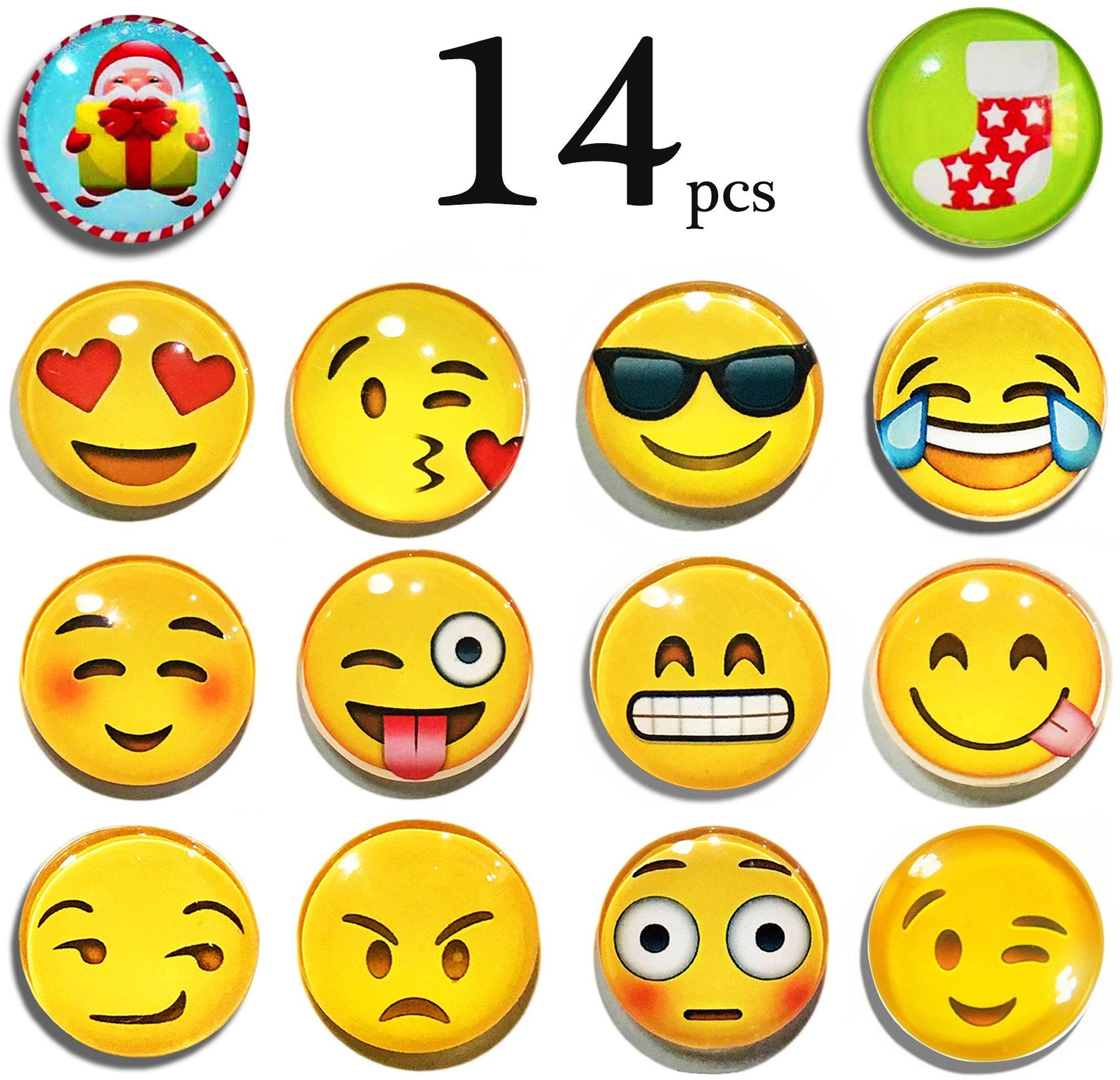 LimBridge 14-Pack Refrigerator Magnets, Emoji Magnets 3D Funny Cute School Lockers Accessories Set