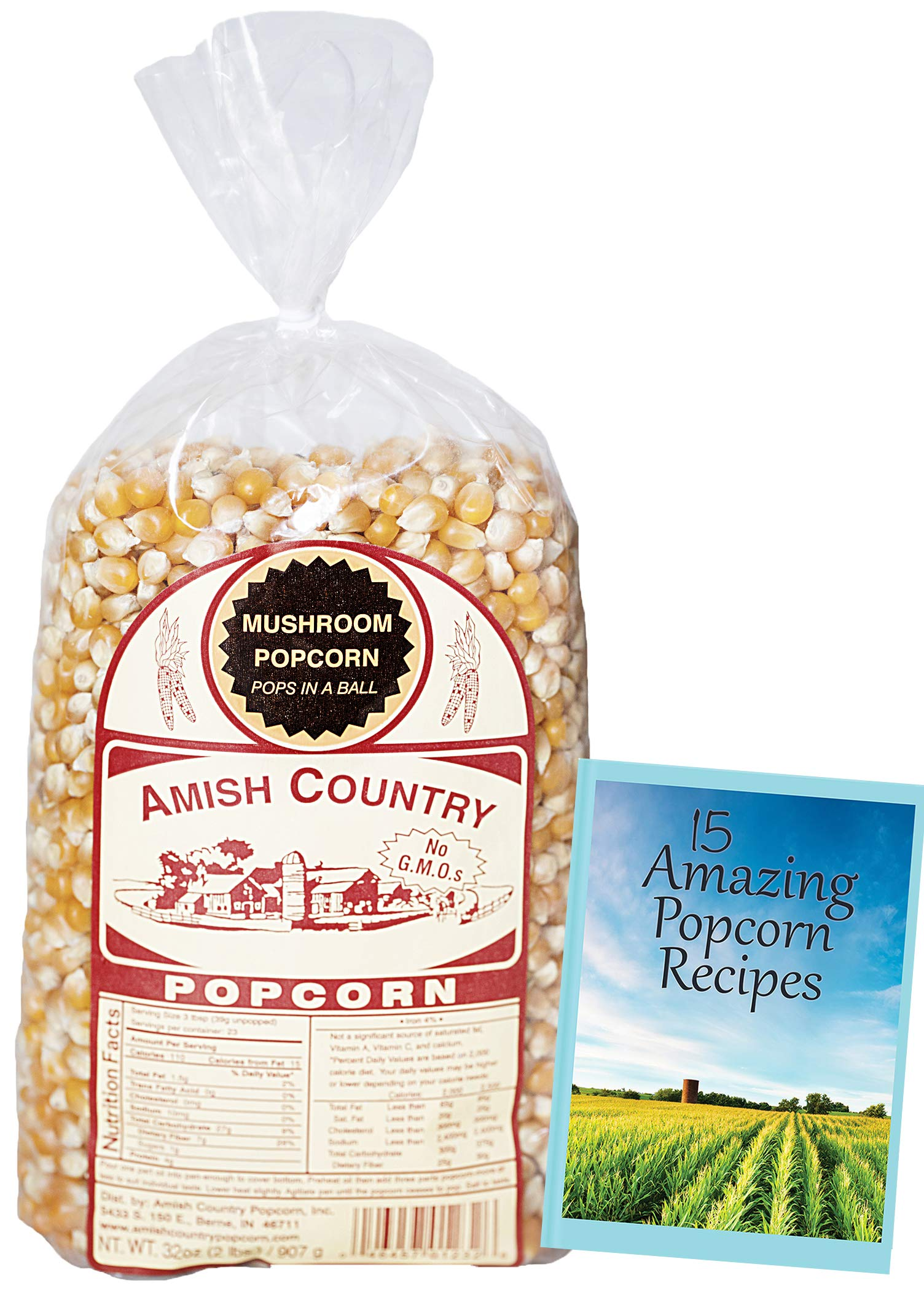 Amish Country Popcorn - Mushroom Popcorn (2 Pound Bag) With Recipe Guide - Old Fashioned, Non GMO, Gluten Free, Microwaveable, Stovetop and Air Popper Friendly by Amish Country Popcorn (Image #2)