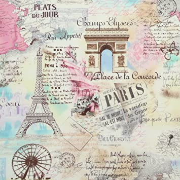 Amazoncom Timeless Treasures April In Paris Pastel Inch - Paris map fabric