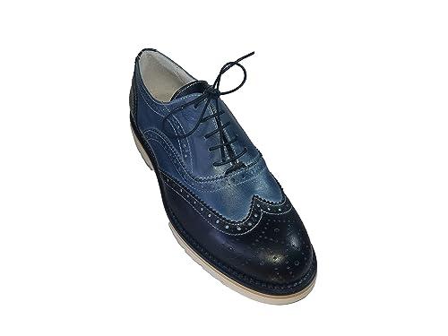 huge discount 6fd62 39572 Scarpe estive uomo Francesine stringate coda di rondine bicolore blu scuro  e blu chiaro jeans VERA PELLE made in italy