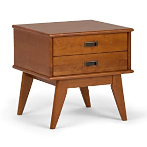 Simpli Home 3AXCDRP-04-TK Draper Solid Hardwood 22 inch wide Mid Century Modern End Side Table in Teak Brown