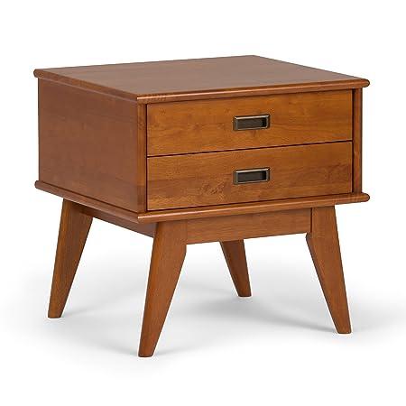 Simpli Home 3AXCDRP-04-TK Draper Solid Hardwood 22 inch wide Mid Century Modern End Side Table in Teak Brown