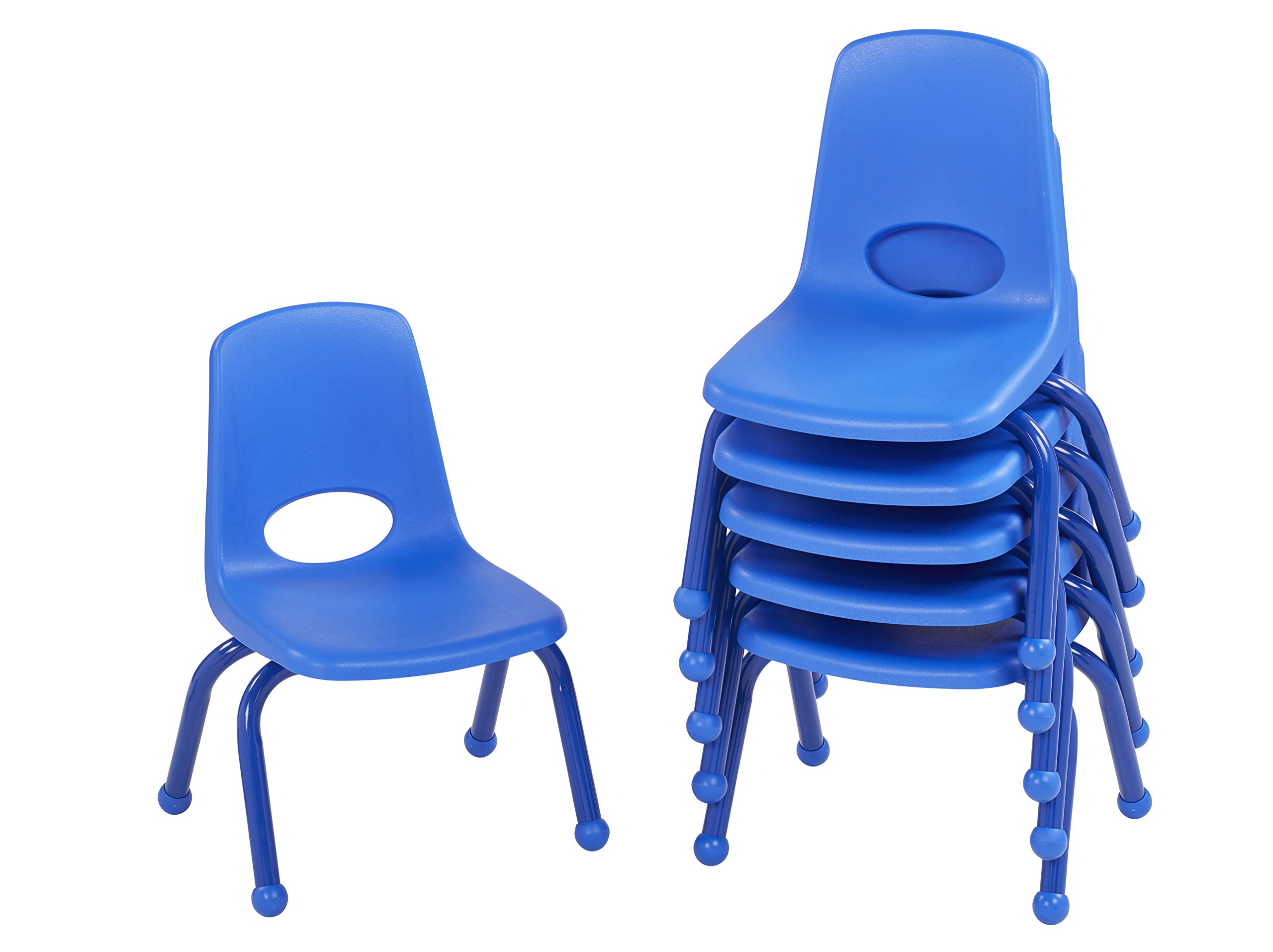 ECR4Kids 10'' School Stack Chair with Powder Coated Legs and Ball Glides, Blue (6-Pack)