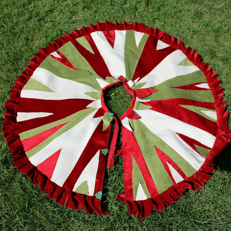 Amazon Com Patchwork Tree Skirt Handmade Tree Skirt 39 Inches Red
