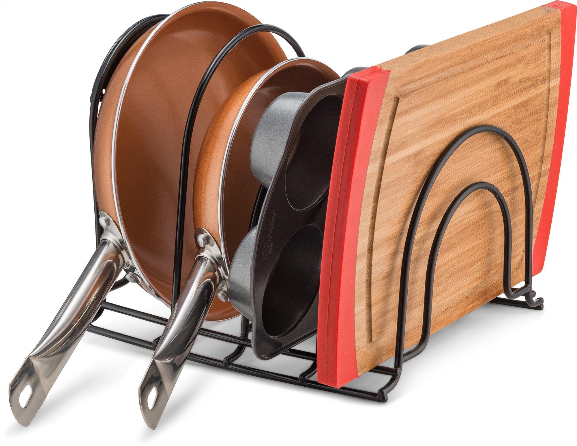 Pan Organizer Rack - Kitchen Closet Storage for Pots, Pans and Lids - Holds Up to 8 Items - Easy Screw or Adhesive Installation - by Bovado USA by Bovado USA (Image #2)