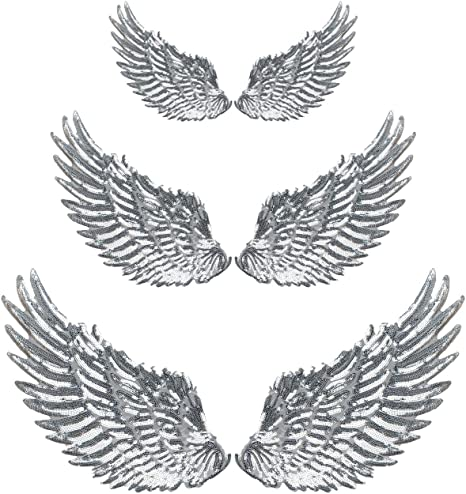 Angel Wings Silver Sequin Iron On Patch Applique Pair