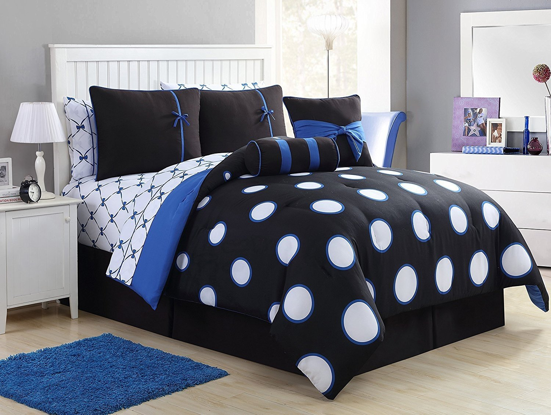 VCNY Home Sophie Polyester 8 Piece SUPER SOFT Comforter Set, Wrinkle Resistant, Hypoallergenic Kids Bed Set, Twin, Black/Blue