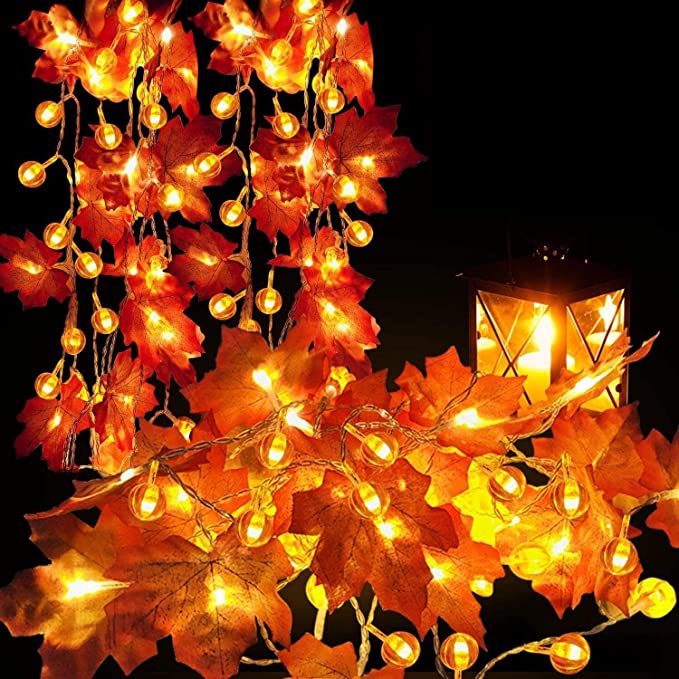 Thanksgiving Decoration 2 Pack Pumpkin Maple Leaf Garland 20 ft 60 LED Pumpkin Lights Decor for Halloween Thanksgiving Fall Decoration Autumn Indoor Outdoor Decor 3AA Battery Operated